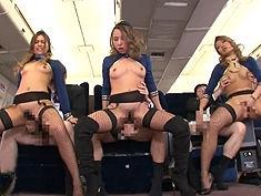 【夏樹まりな 長谷川夏樹 安室サリー】ギャルCAの本気の腰フリ騎乗位で男性客をスッキリさせる