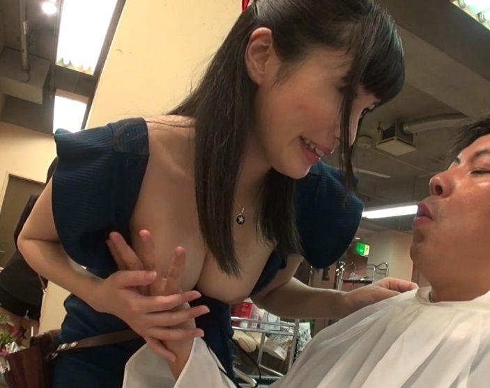 「内緒ですからね?」マジでセクシーな着衣おっぱいで客を誘惑するび容師さんが客を痴女ってまさかの逆レイプ