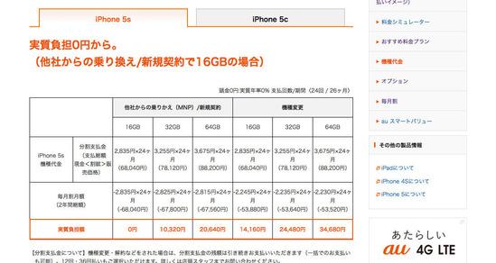 機種代金  料金・割引  iPhone5s  au
