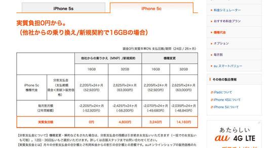 機種代金  料金・割引  iPhone5c  au