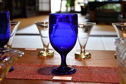 平田硝子 ワイングラスブルー