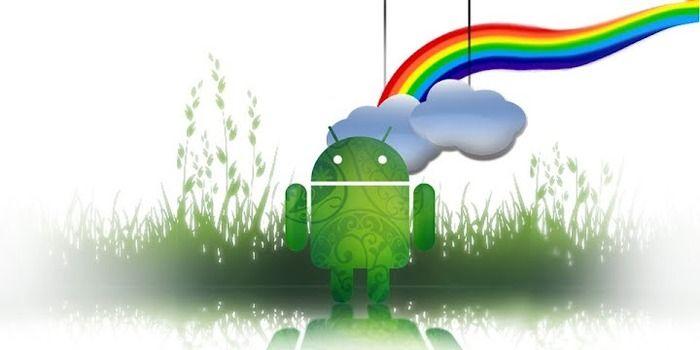虹とドロイド君の壁紙