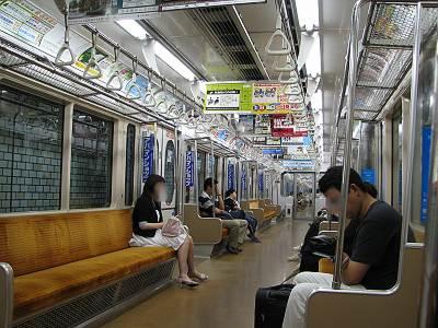 仙台市地下鉄の車内の様子