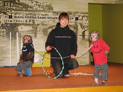 伊香保のシスティーナ礼拝堂の猿劇場のサスケ君とリンゴちゃん