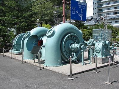 実際に使用されていた水車や発電機