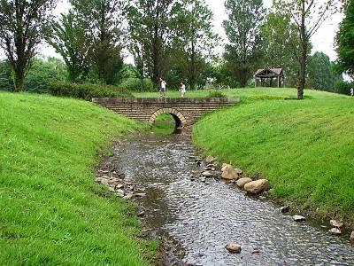 彩の森入間公園の小川と橋