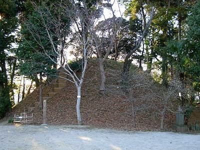 木曽呂の富士塚(見沼代用水の反対側から)