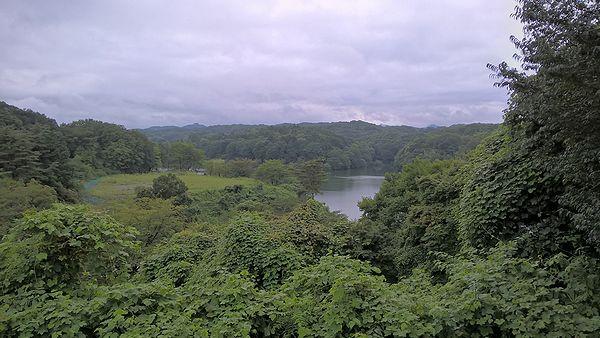 宮沢湖温泉から見た宮沢湖