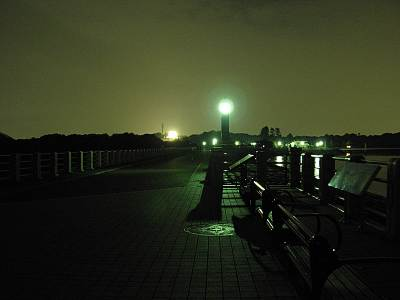 夜の狭山湖堤体