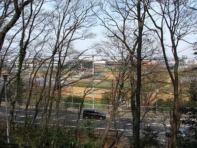 朝霞城山公園の頂上部分からの眺望