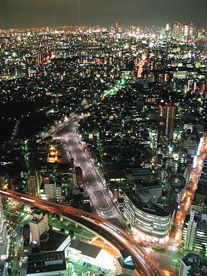 上から見た東京都市計画道路事業幹線街路環状第五の一号線(夜)