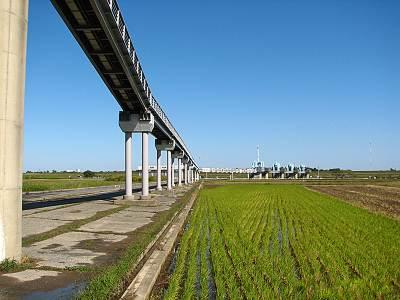 秋ヶ瀬取水堰に延びる長い橋