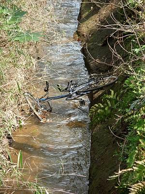 野火止用水に捨てられた自転車