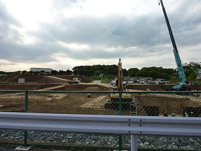日比田調節池の工事現場(東川側から)