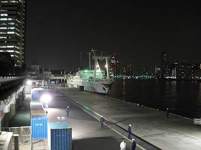 竹芝桟橋接岸中のかめりあ丸