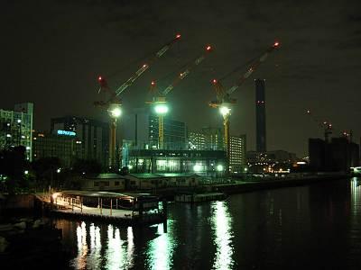 東京都中央区黎明橋からの夜の風景