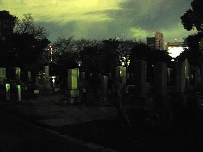 夜の青山霊園(青山墓地)その1