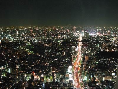六本木ヒルズ展望台から首都高3号渋谷線方面