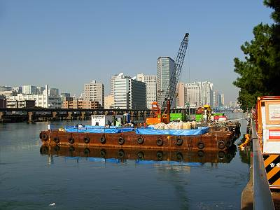 大井火力発電所放水路の工事