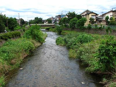 黒目川と落合川の合流地点