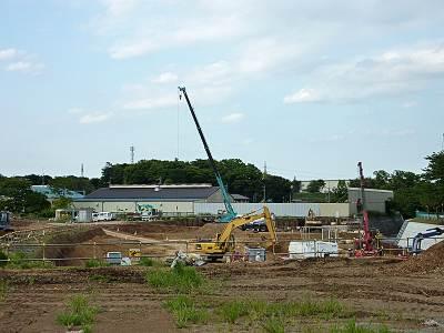 日比田調節池の工事現場