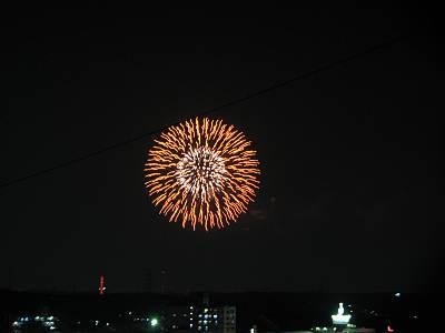 ダイエー所沢店屋上から見る西武園花火