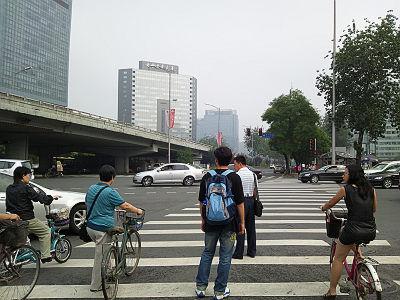 中国北京市の横断歩道