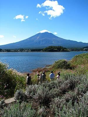 河口湖大石公園からの富士山と、その撮影者たち