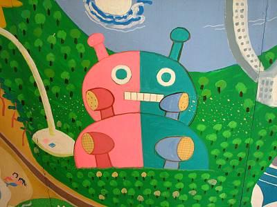 壁画にはどこかで見たようなタッチが・・・