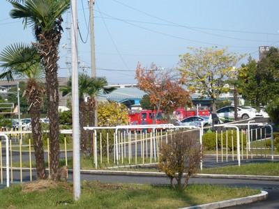 消防車の練習?