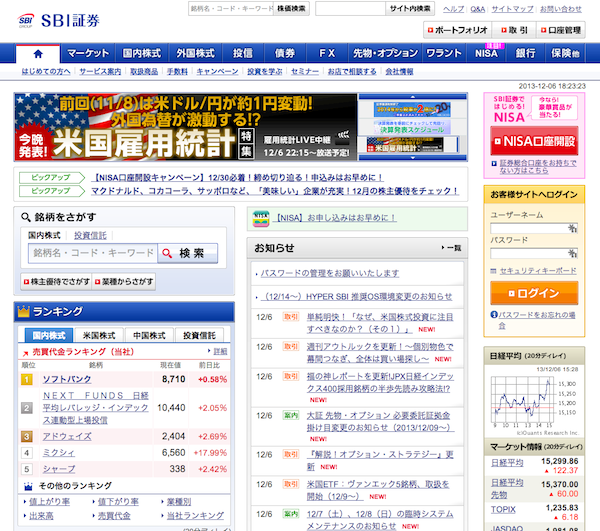 SBI証券トップページ