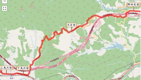 野田尻宿~花咲宿地図