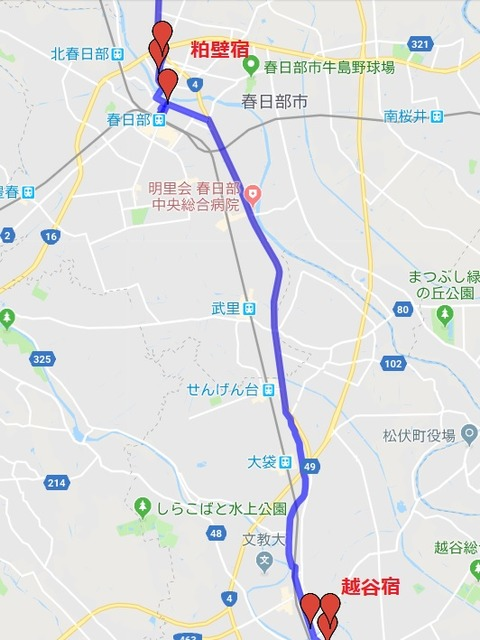 越谷~粕壁地図