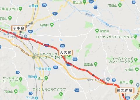 徳次郎宿~今市宿地図
