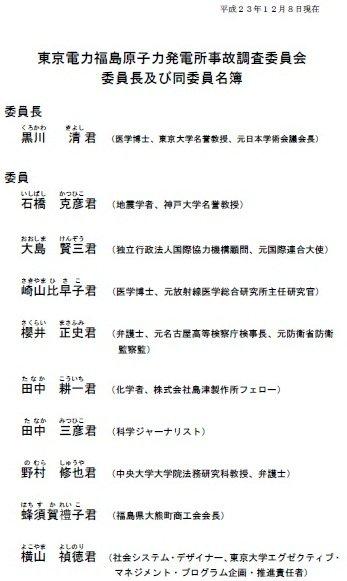 国会事故調委員名簿