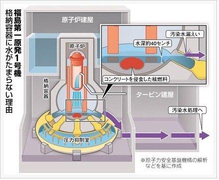 1号機格納容器水位試算イメージ
