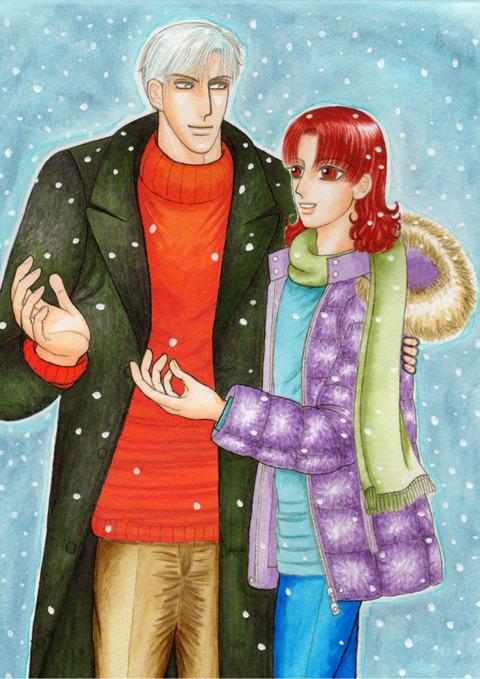雪の中の二人(アップ用)