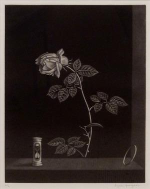 長谷川潔「薔薇と時」