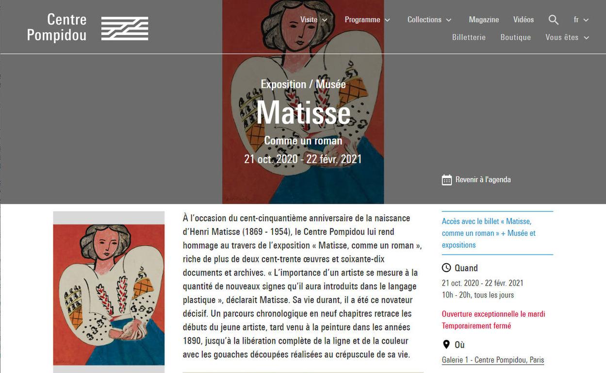 スタッフSの海外ネットサーフィン No.89「Matisse, comme un roman」