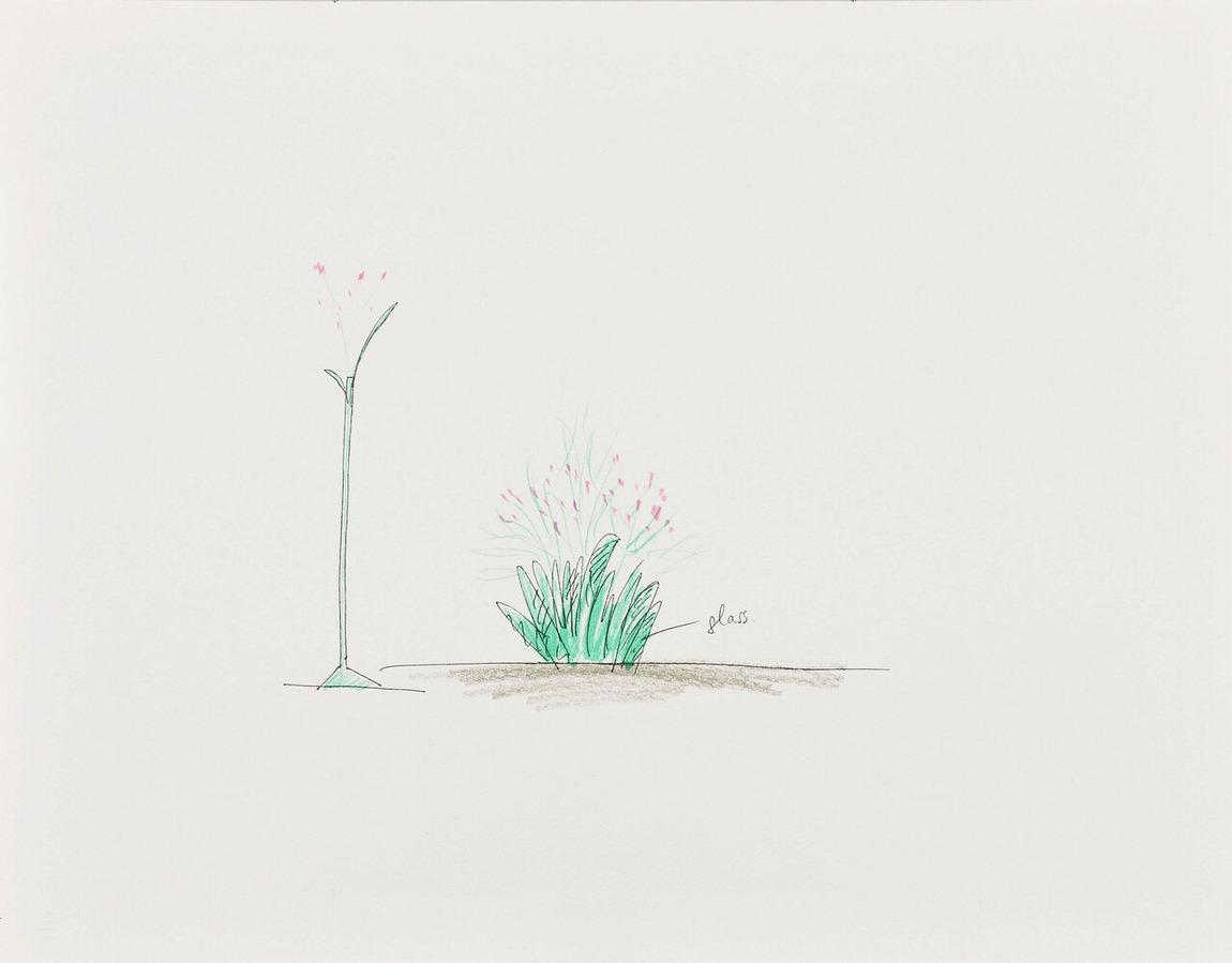 74 花瓶 ガラスで葉の形の花瓶をつくり花のみを飾る 1990_中