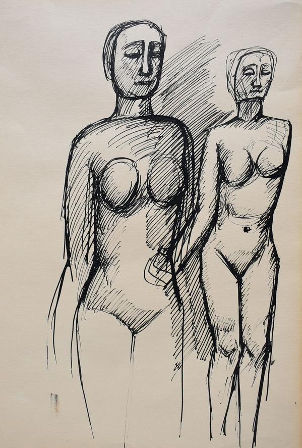 海老原喜之助「二人の裸婦」ペン