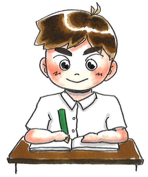 夏 勉強中 男の子1