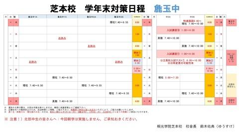 芝本 麁玉 学年末テスト対策日程 - コピー