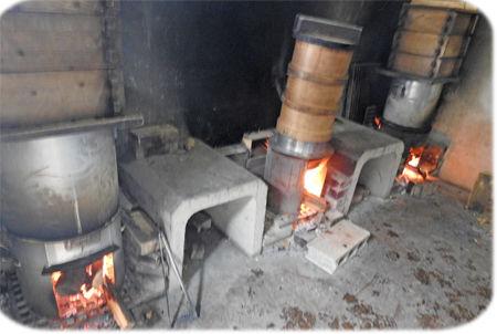 0モチ米を蒸かす450