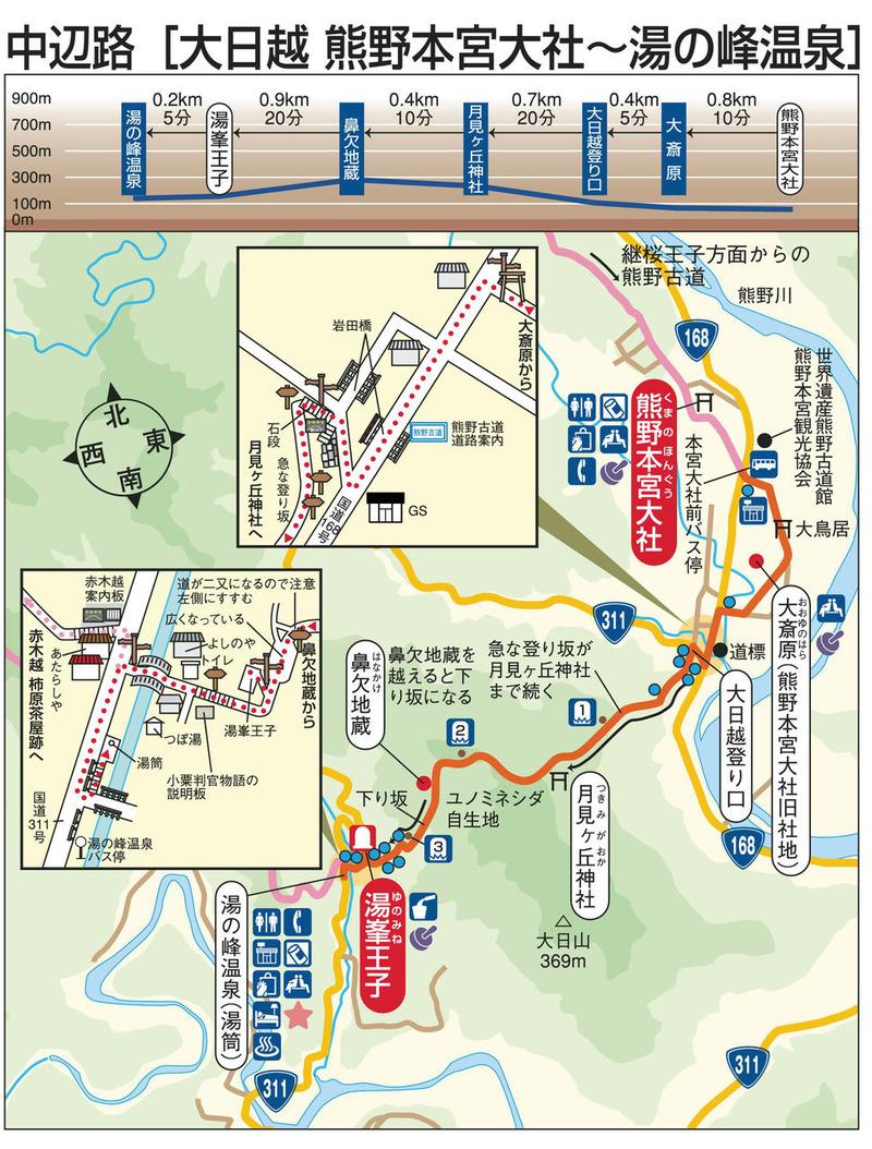 中辺路(大日越 熊野本宮大社ー湯の峰温泉) 900 (2)