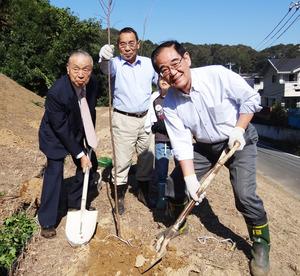飯塚町連会長、立川会長、市長