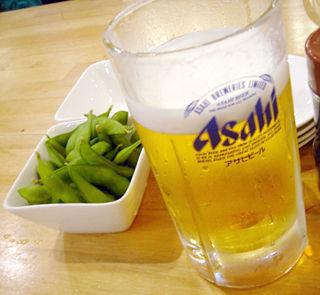 「得一」ビール枝豆