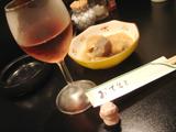 居酒屋ことぶきワインと付き出し