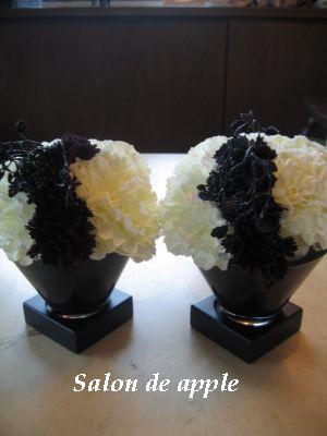 オーダーしたお花、マーブルのテーブルに