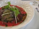 海の幸のコンソメゼリー添え 旬野菜のムースとともに
